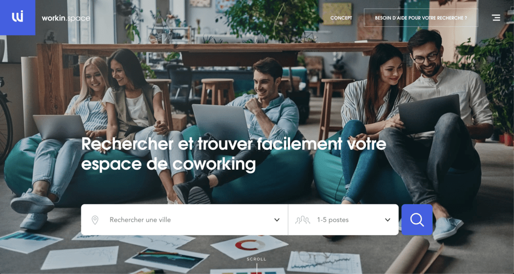<p>Homepage du site https://workin.space</p>