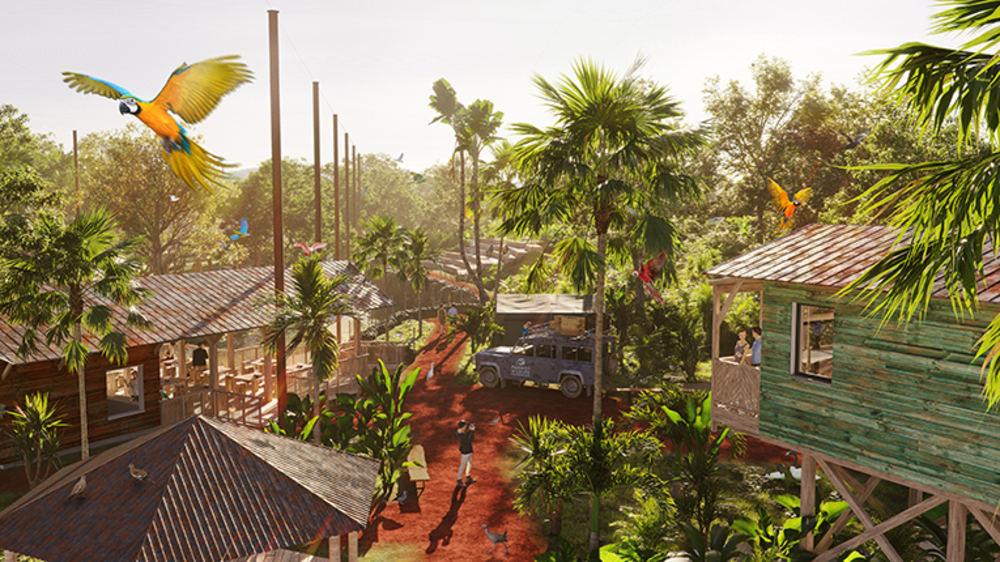 <p>Parrot World - le village, inspiré d'un campement d'explorateurs en Amazonie</p>
